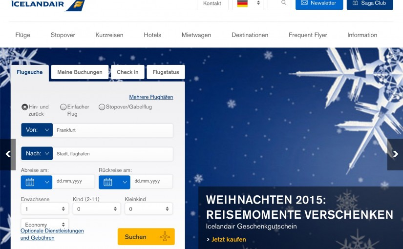 Icelandair Class Up - Upgrade zum Ersteigern