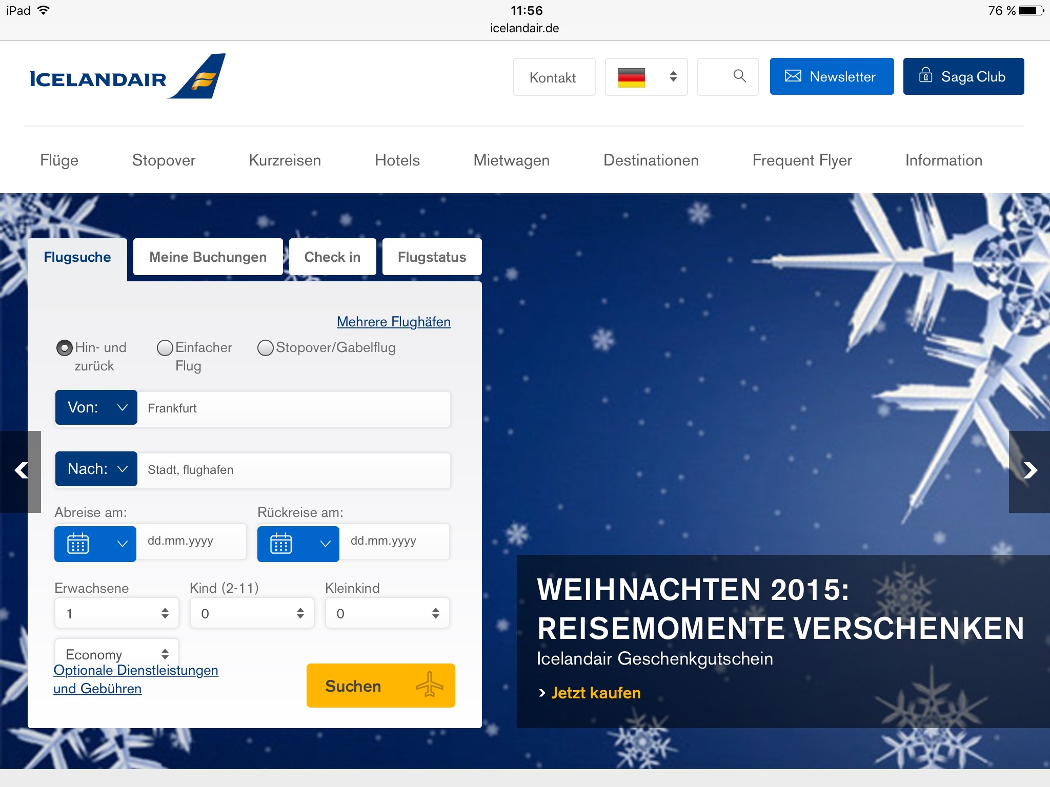 Icelandair Class Up – Upgrade zum Ersteigern