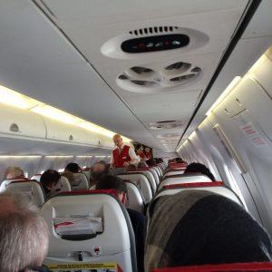 Austrian Airlines von Köln/Bonn- Kabine