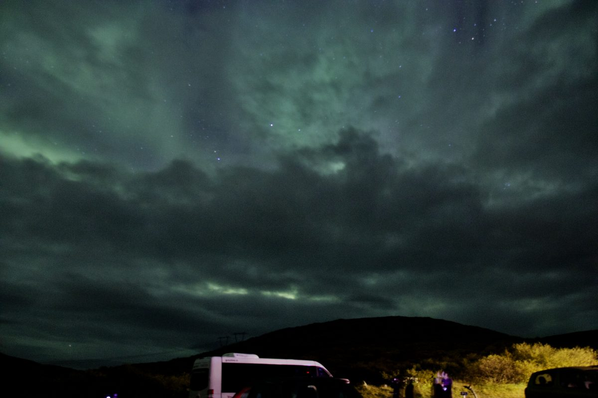 Nordlichter in Island am Hotel Glymur - Nordlichter trotz Wolken