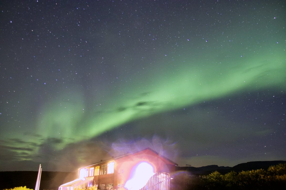 Nordlichter in Island am Hotel Glymur - Das Hotel unter Nordlichtern