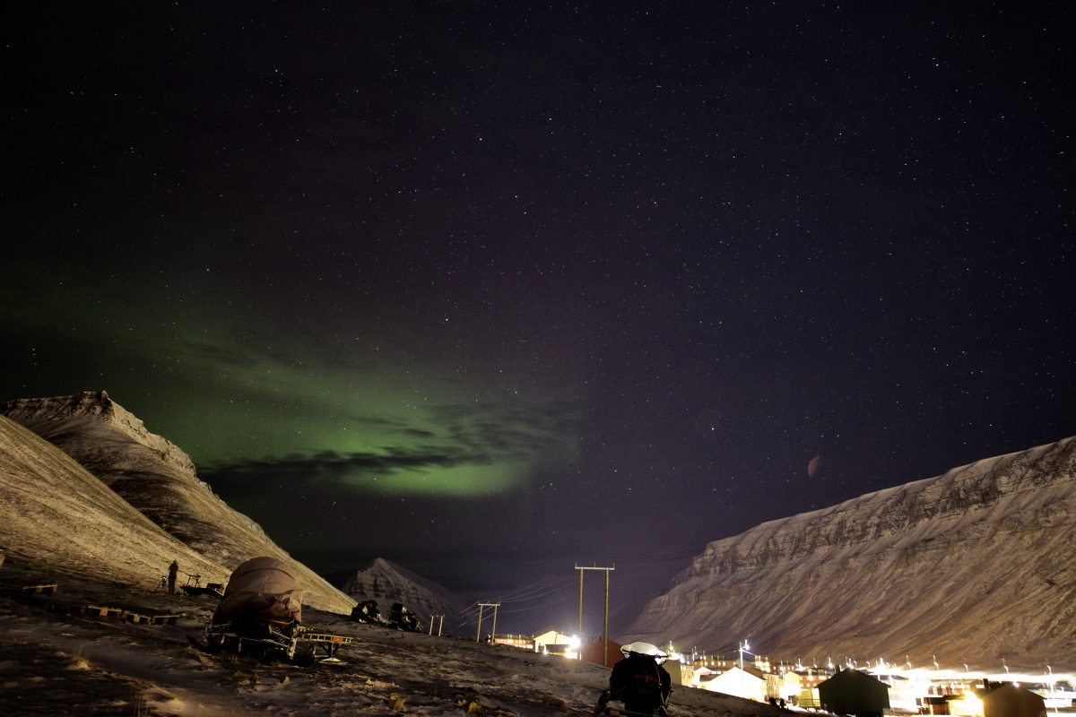 Nordlichter in Longyearbyen Spitzbergen