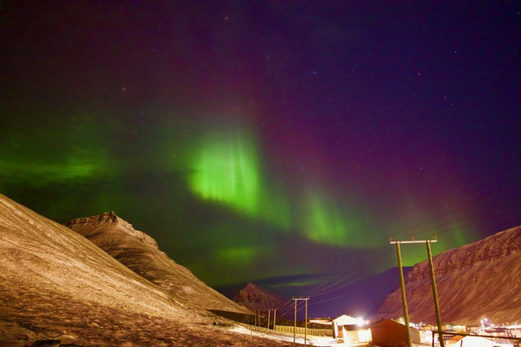 Nordlichter bearbeitet Longyearbyen