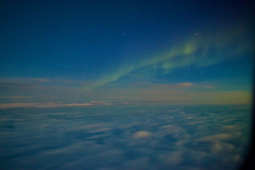 Die Nordlichter auf dem Flug